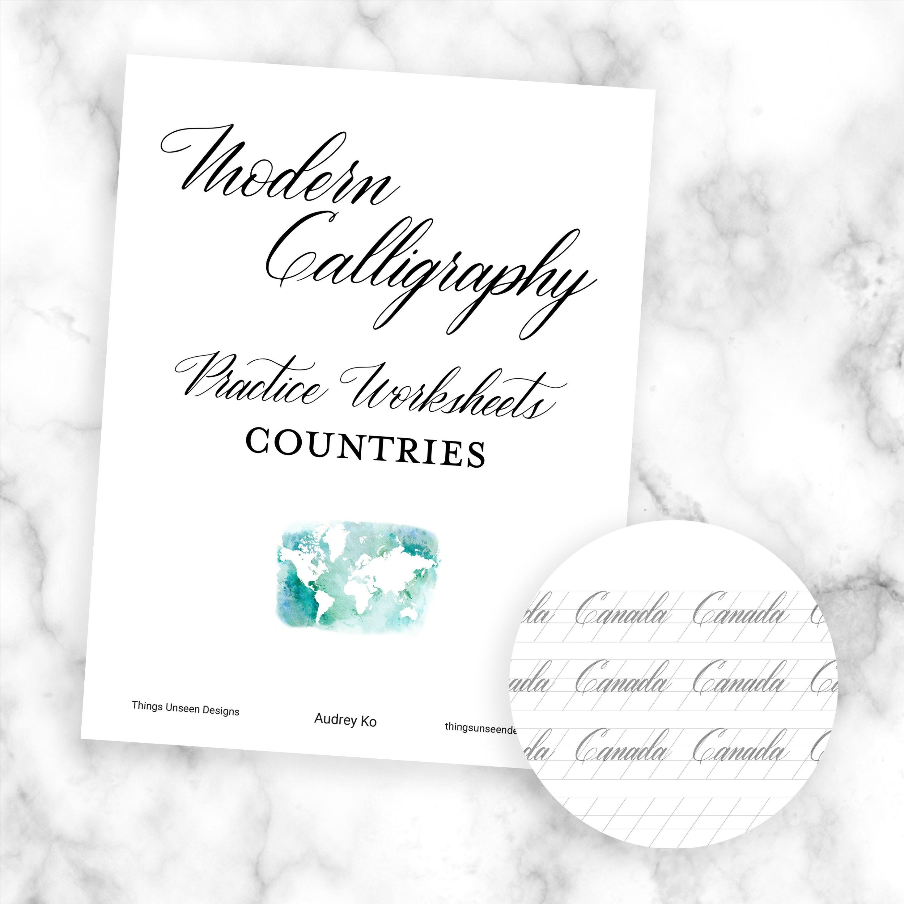 Modern Calligraphy Worksheets Countries