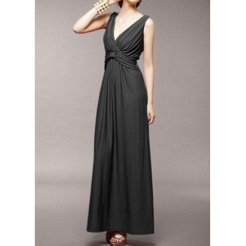 Vintage V-Neck Solid Color Pleated Long Prom Dress For Women
