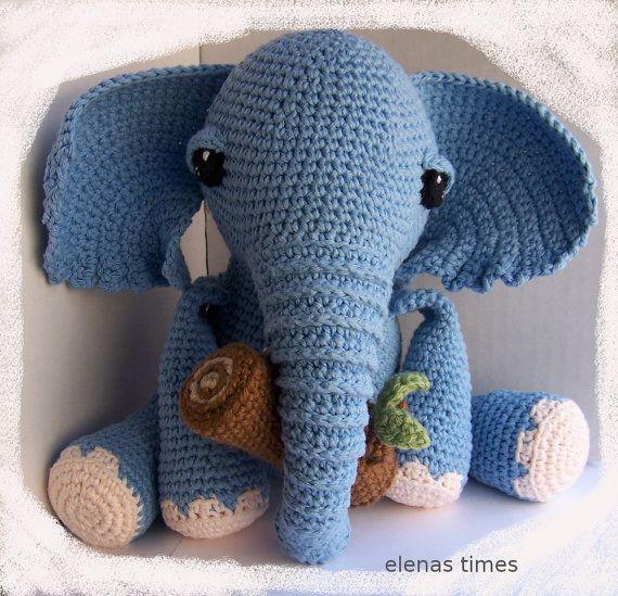 Crochet Pattern-Baby Elephant with tree log-Toy Elephant-Amigurumi ...