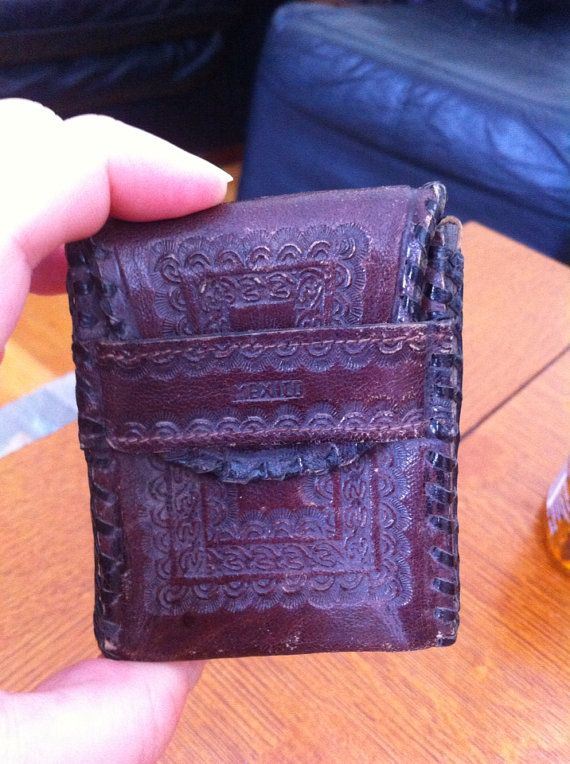 Tooled leather Mexico cigarette case  on Etsy, $12.95
