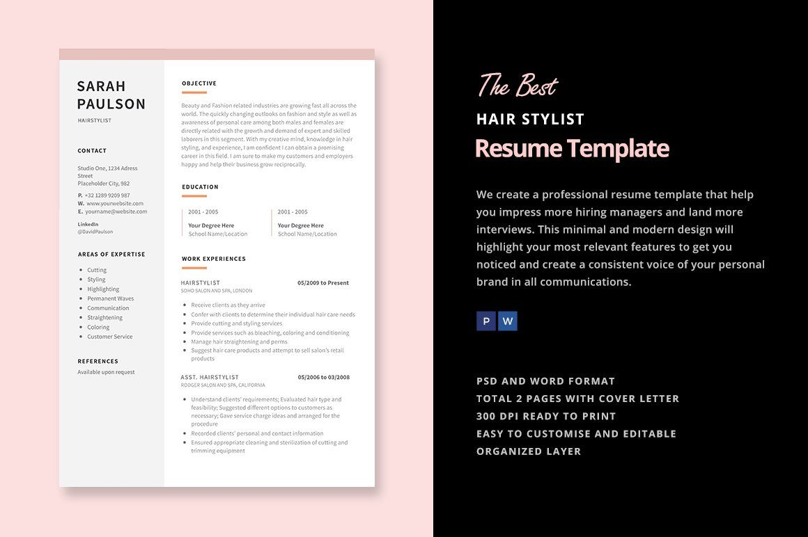 Hair stylist functional cv example resume template
