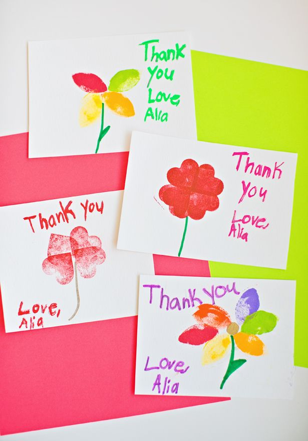 Kid made stamped flower thank you cards teacher craft for Thank you crafts for teachers