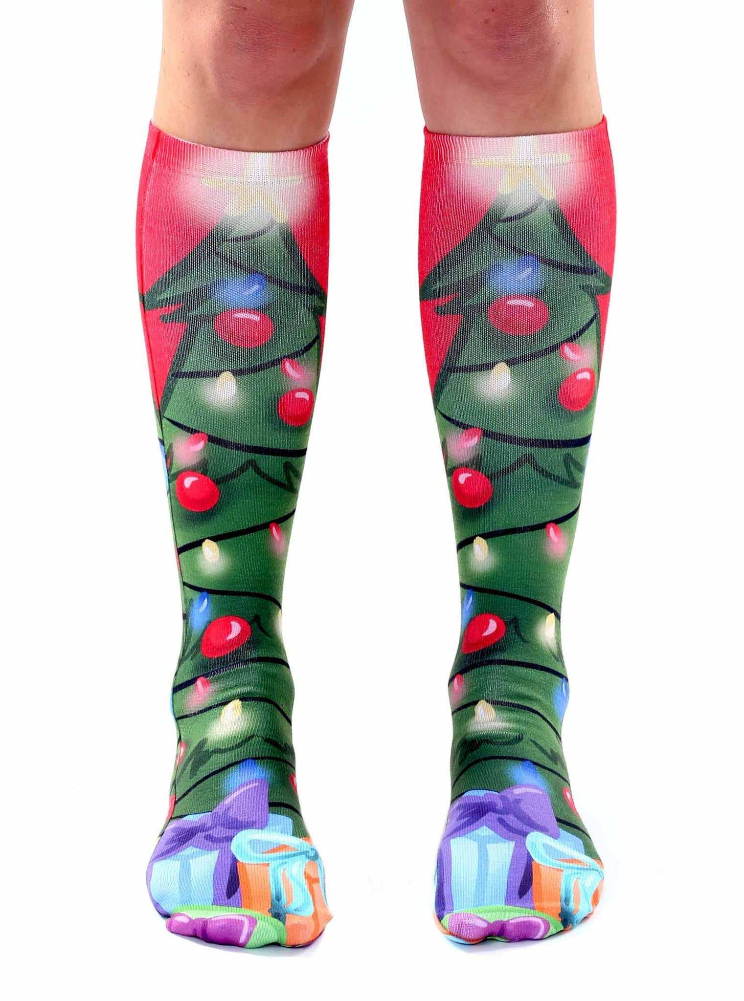 75124280bf2 Christmas Tree Knee High Socks from Living Royal. Saved to Holiday Socks.  Shop more products from Living Royal on Wanelo.