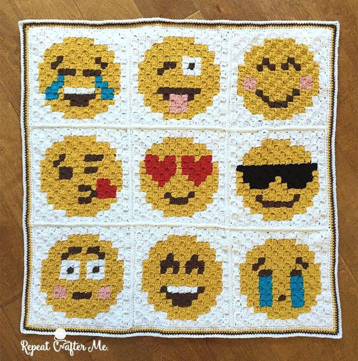 Crochet Emoji C2C Graphgan - Repeat Crafter Me | colchas | Pinterest ...