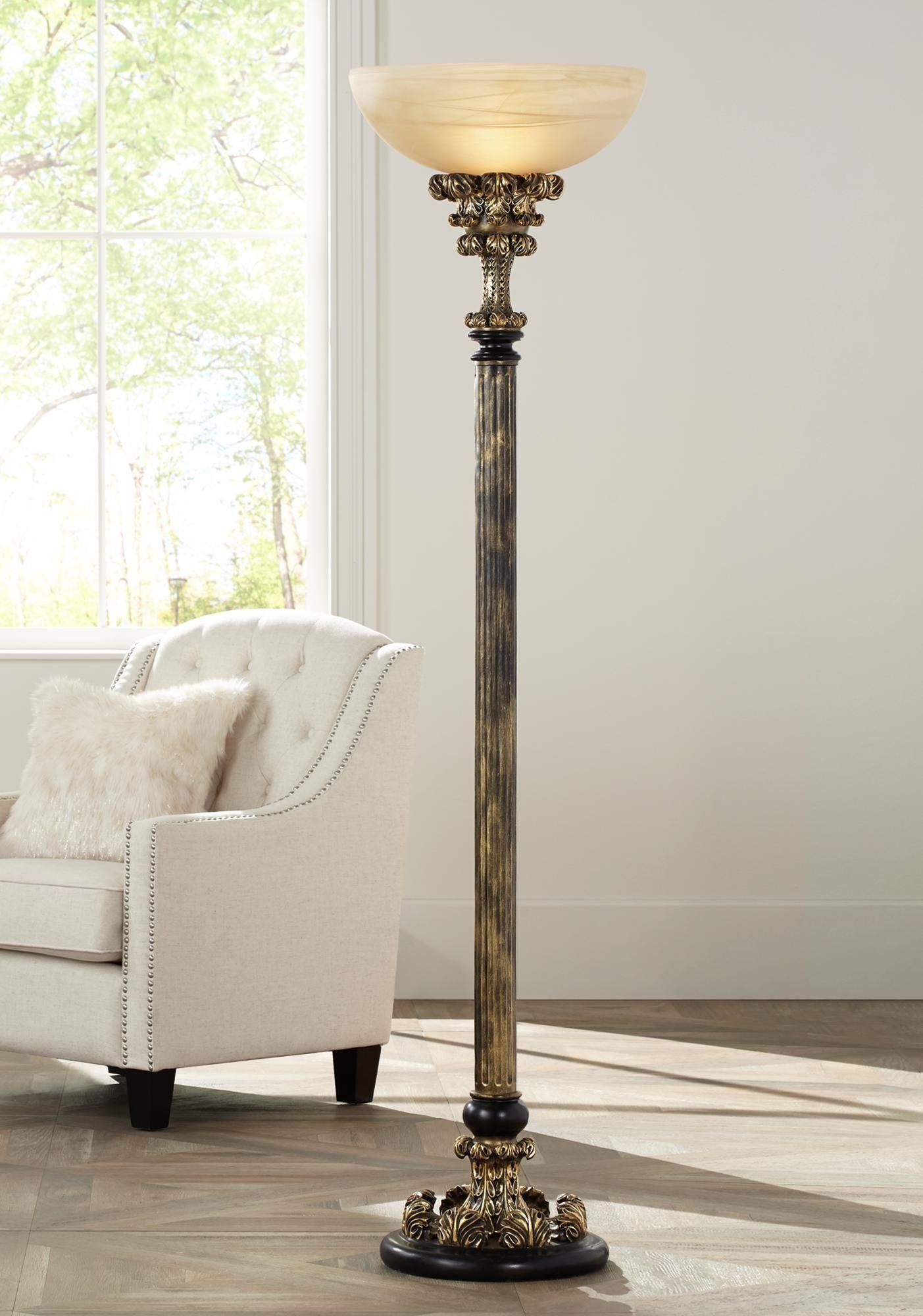 Floor Lamps Florencio Antique Gold Torchiere Floor Lamp Floor Lamps Living Room Torchiere Floor Lamp Lamps Living Room