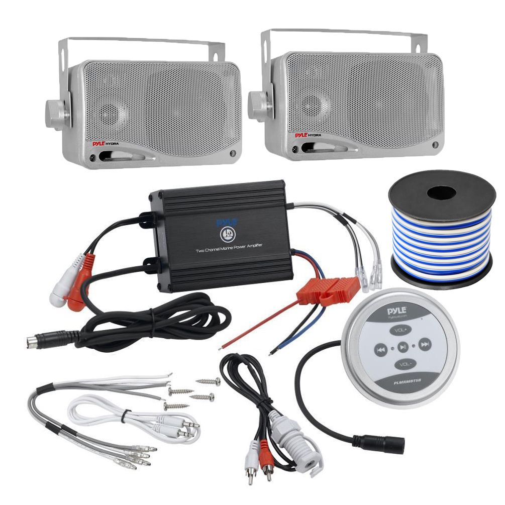 Pyle Kthsp410 600 Watt 2 Channel Bluetooth Marine Sound System With Audio Wiring Pair Of 35 Inch Box Speakers And 50 Foot Wire