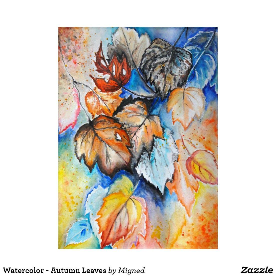 Watercolor Autumn Leaves Acrylic Print Zazzle Com Canvas Art Butterfly Garden Art Trademark Fine Art
