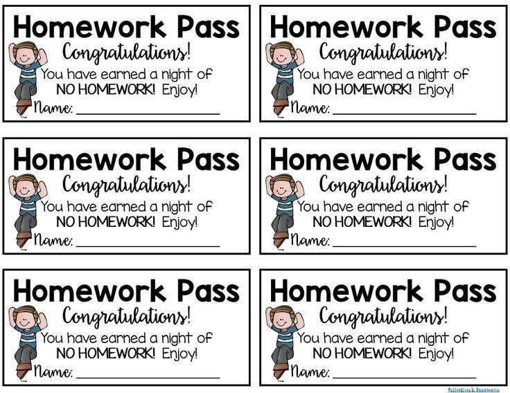 Free Homework Pass Template Free Download