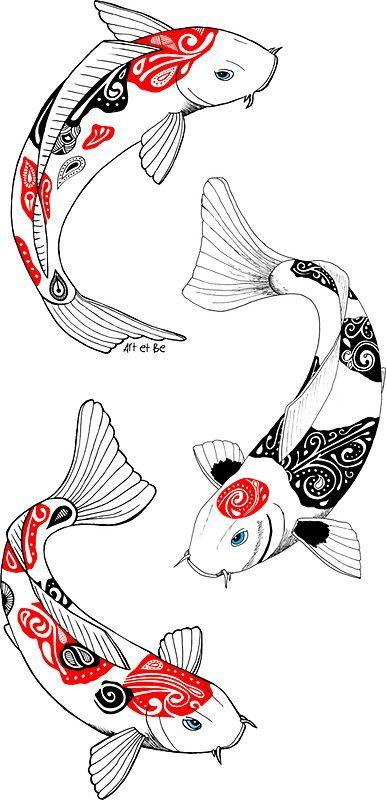 'Fish carp koi (3)' Sticker by artetbe