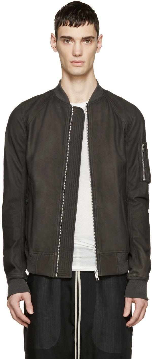 Rick Owens - Grey Leather Bomber Jacket | Jackets | Pinterest ...