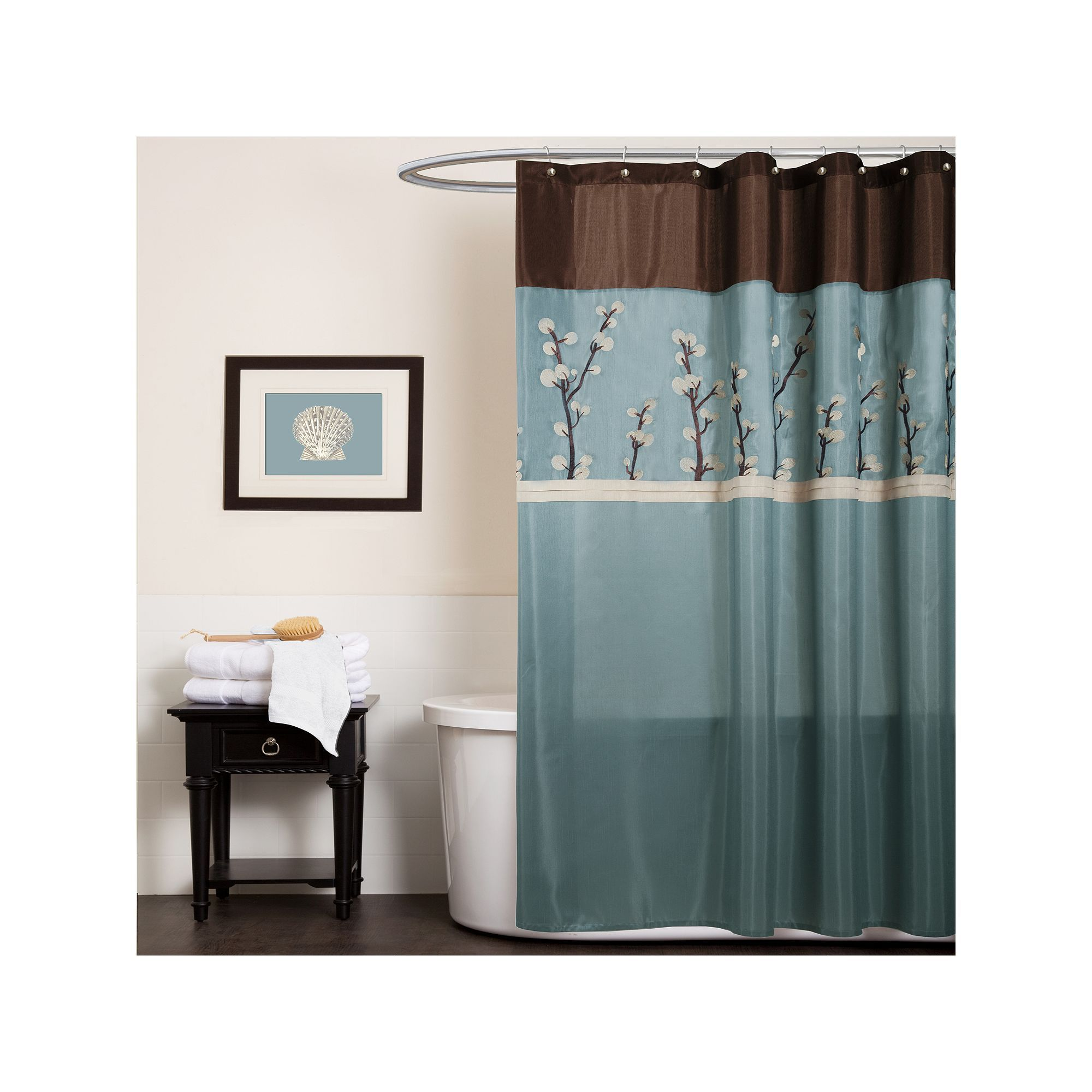 Lush Decor Cocoa Flower Fabric Shower Curtain Blue Durable