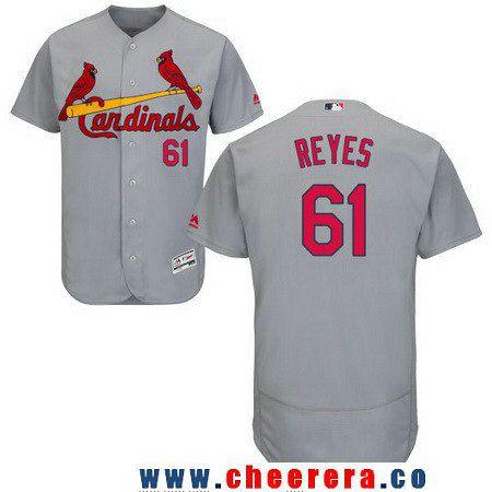 Men's St. Louis Cardinals #61 Alex Reyes Gray Road Stitched MLB Majestic Flex Base Jersey