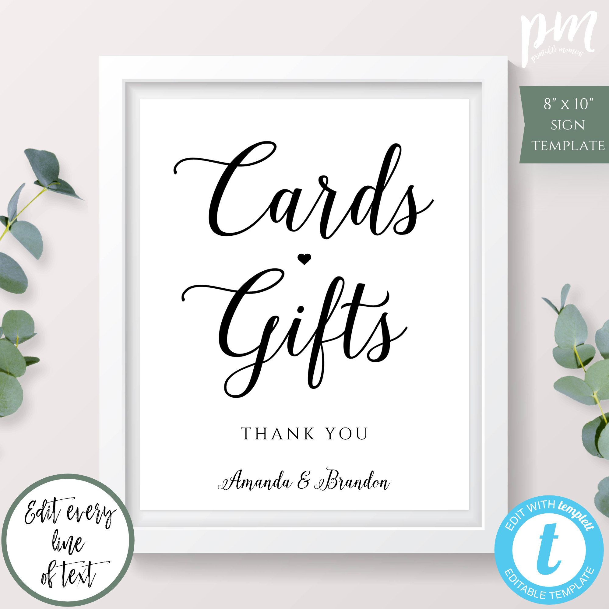 Cards Gifts Wedding Sign Gifts And Cards Sign Printable Etsy Cards Sign Wedding Signs Wedding Calligraphy Signs