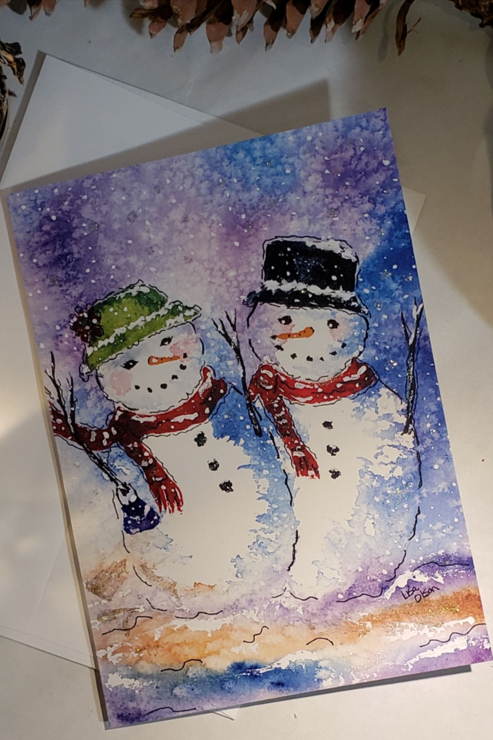 5 X 7 Christmas Card Mr And Mrs Snowman Greeting Card Etsy Hand Painted Christmas Cards Painted Christmas Cards Christmas Cards
