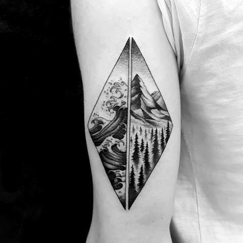 Photo of 40 mountain wave tattoo ideas for men – nature designs – #designs # for # m …