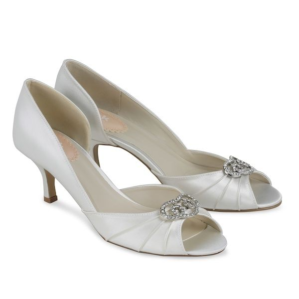 Pink Low Heel Wedding Shoes: Amelia Ivory Lace Wedding Shoes