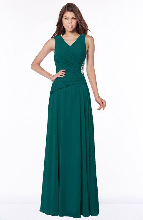 2795900c63e Shaded Spruce Modest A-line Sleeveless Zip up Chiffon Pick up Bridesmaid  Dresses