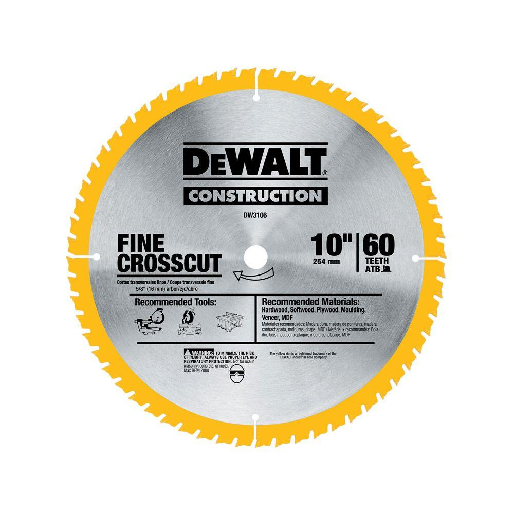 Dewalt 20 Series 10 In 60t Fine Finish Saw Blade Dw3106 Circular Saw Blades Power Tool Accessories Blade
