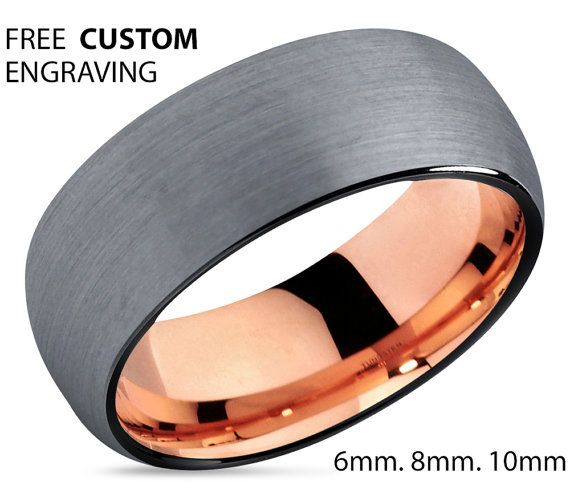 Mens Wedding Band Rose Gold Wedding Ring Tungsten Ring 10mm Etsy Rose Gold Mens Wedding Band Mens Wedding Rings Gold Tungsten Wedding Bands