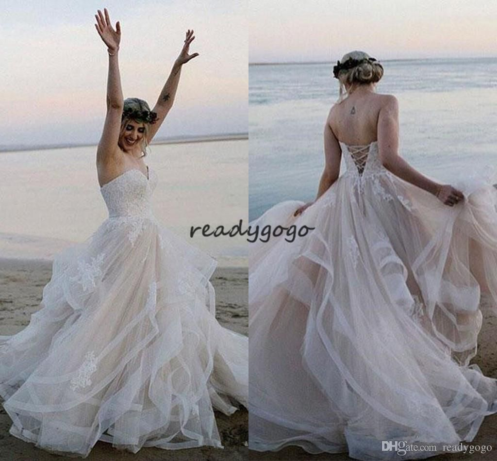 Beach wedding dresses sweetheart appliques lace tulle tiered skirt