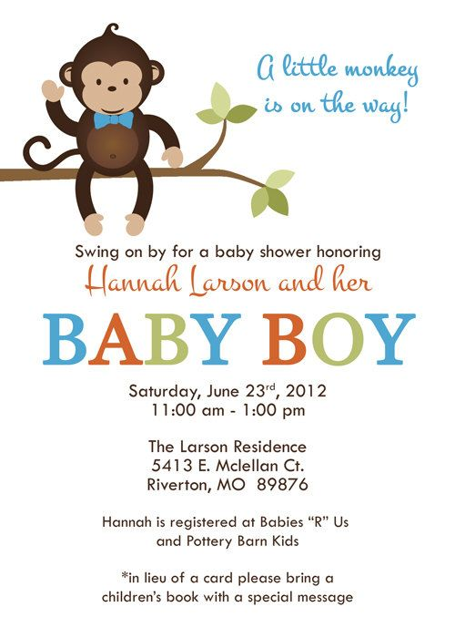 monkey baby shower invitations bow tie monkey Digital Printable