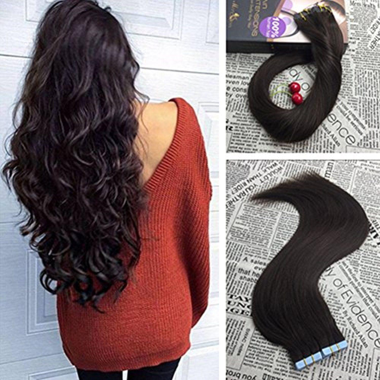 Moresoo 16 Inch Glue In Human Hair Seamless Skin Weft Tape In Hair