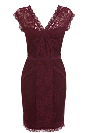 This slinky, going out dress features a v neckline and lace panelling across the body. The piece is finished with a scallop hem and cap sleeve styling. @ Oasis