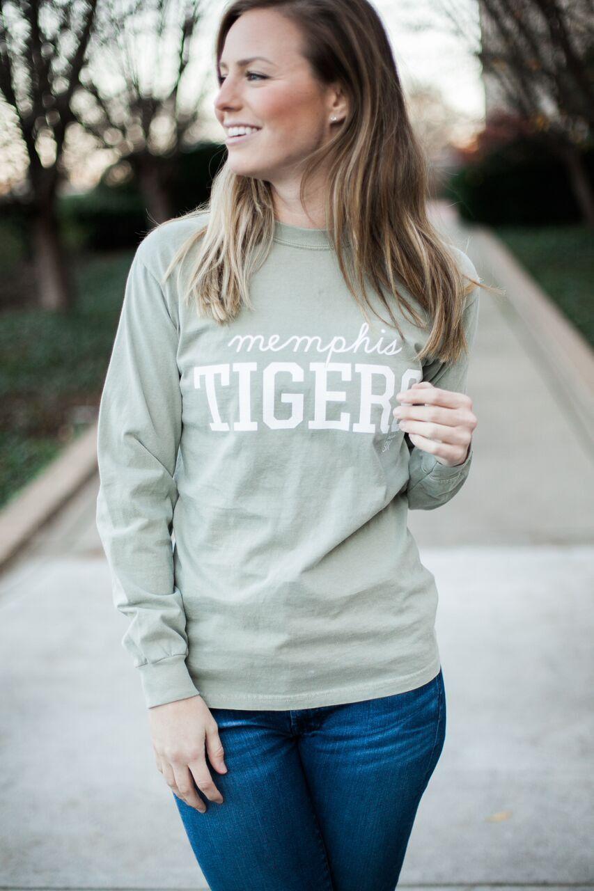 Memphis Tigers Comfort Colors Long Sleeve Sandstone T Shirt