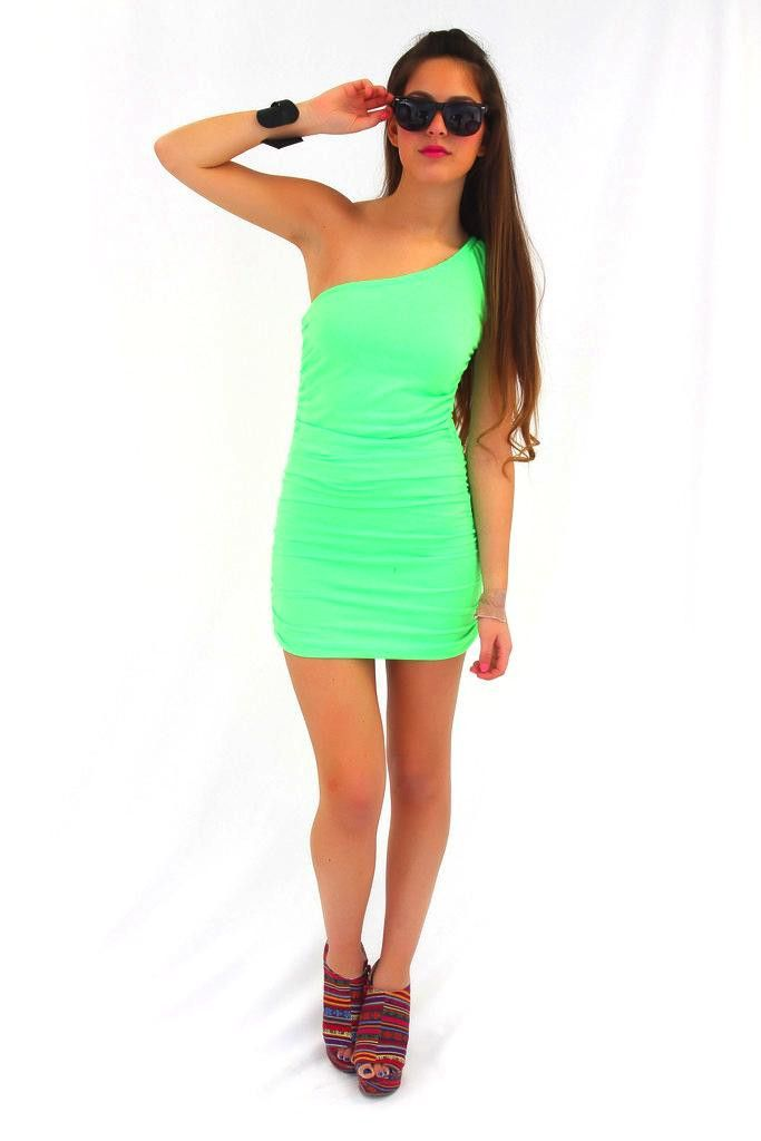 7636a81ebcfc One Shoulder Neon Dress in Hot Green...would want it longer and not body  tight!!