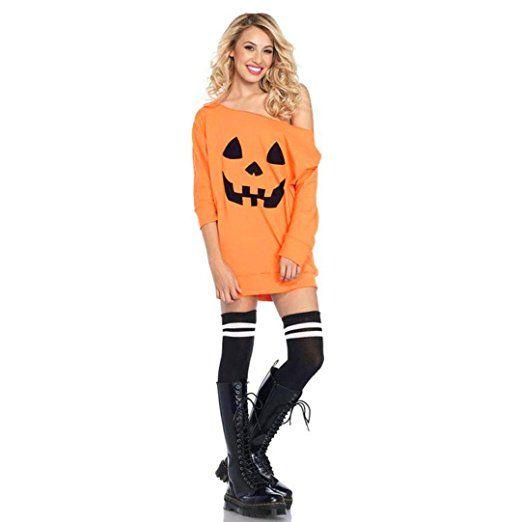 Internet Damen Kaltes Schulter Kürbis Kostüm Kleid Halloween ...