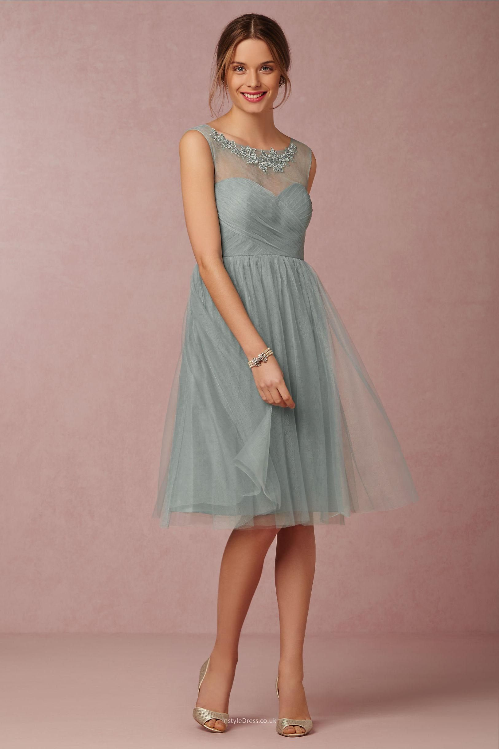 Illusion neckline simple short knee length tulle bridesmaid dress illusion neckline simple short knee length tulle bridesmaid dress ombrellifo Image collections