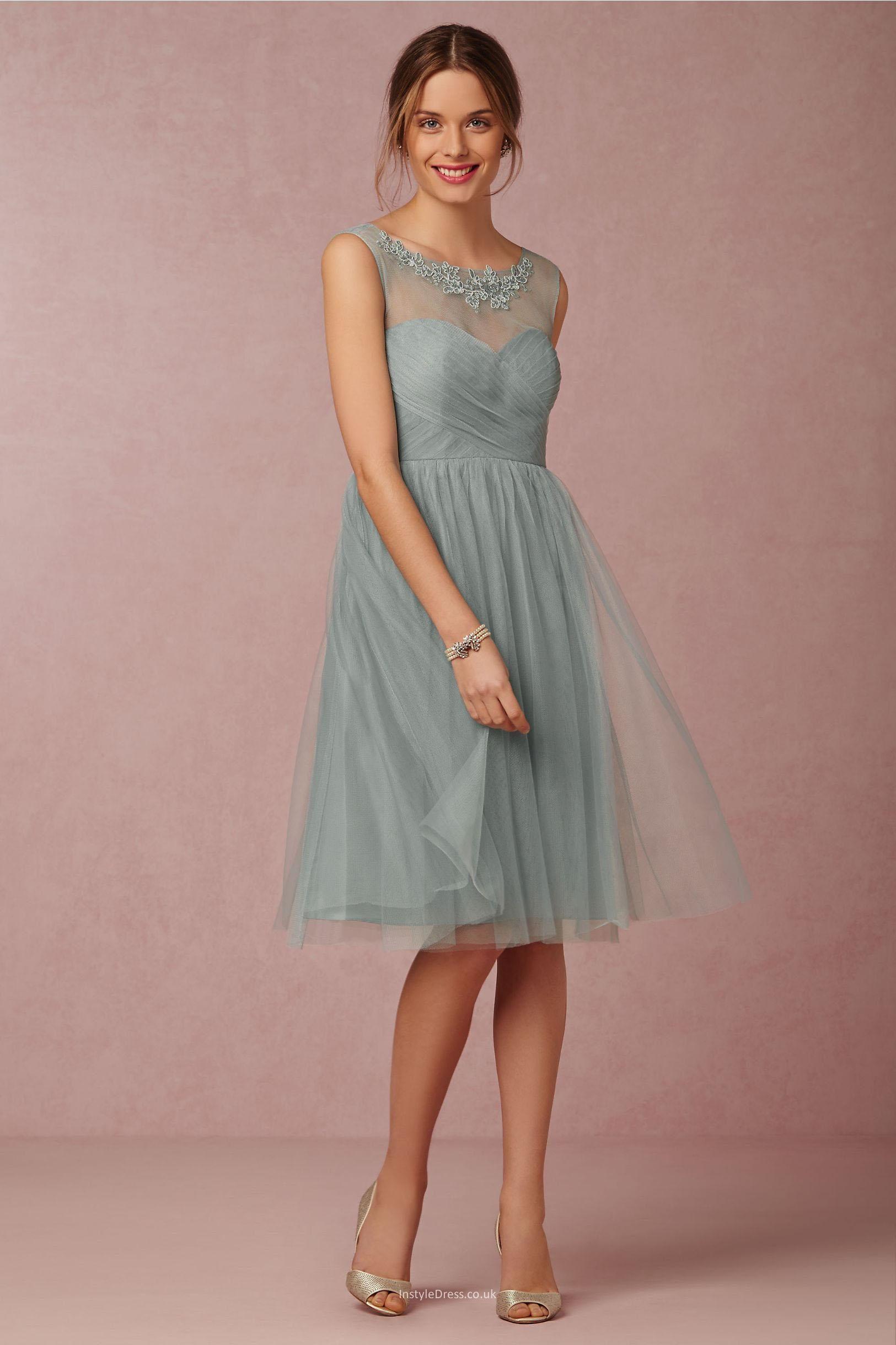 illusion neckline simple short knee length tulle bridesmaid dress ...
