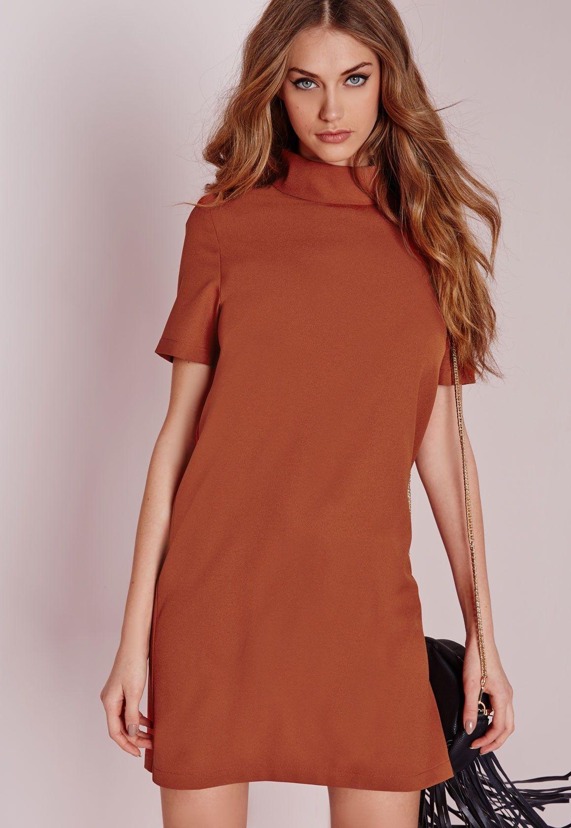 Missguided High Neck Short Sleeve Shift Dress Clay Short Sleeve Shift Dress Women Dress Online Clothes [ 1680 x 1160 Pixel ]