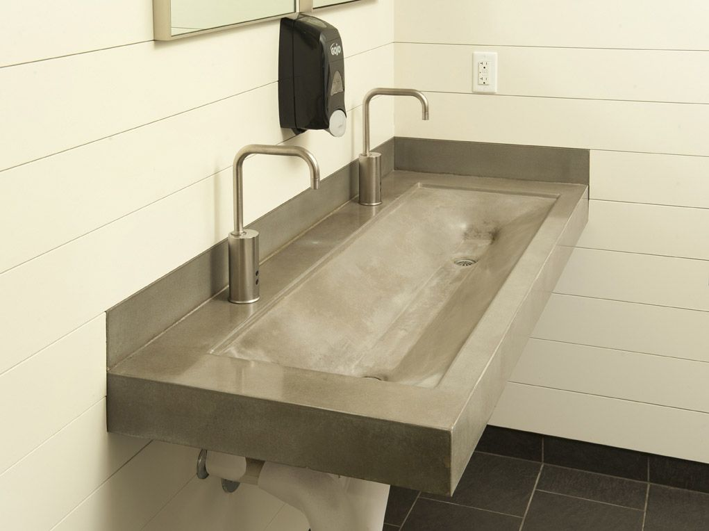 Double Trough Sink Bathroom Pinterest Trough Sink Sinks And Concrete