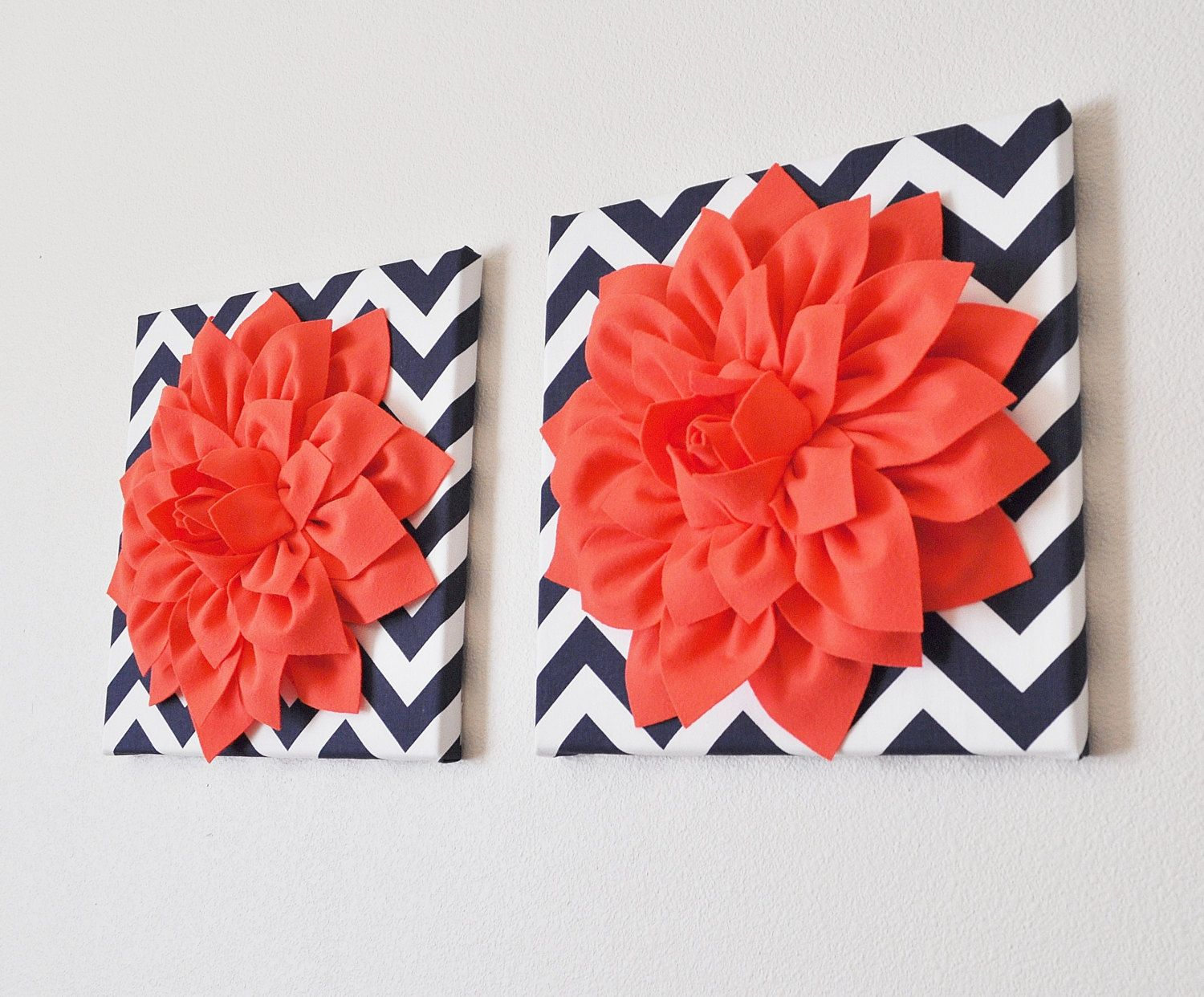 Two wall flower coral dahlia on navy and white chevron x