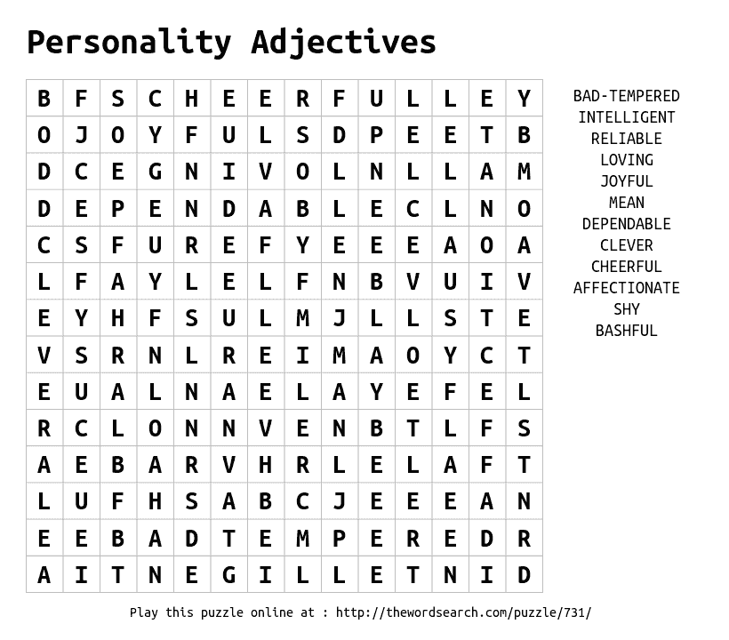 Word Search On Personality Adjectives Eng 301 Pinterest
