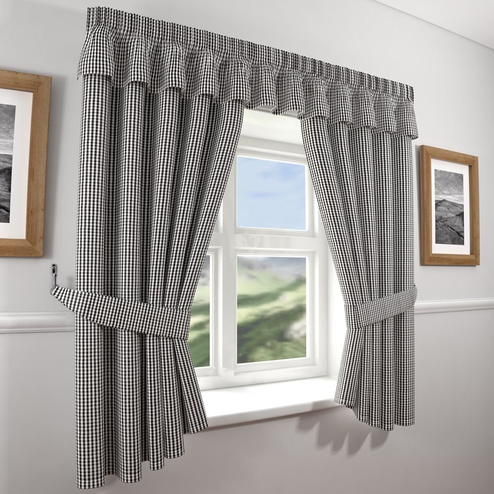 Gingham Check Kitchen Curtains  Black White 46 Wide x