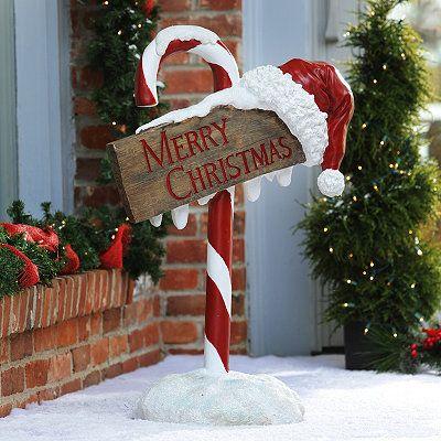 Merry christmas candy cane sign christmas outdoors - Decoracion navidena exterior ...