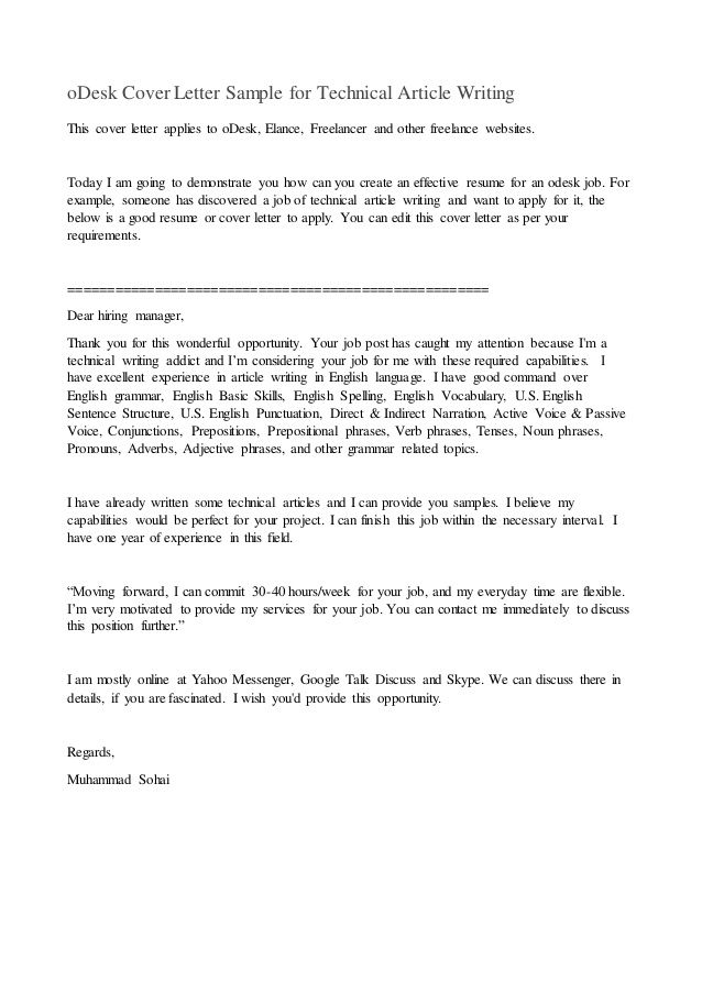 oDesk Cover Letter Sample for Technical Article Writing This cover - freelance writing resume