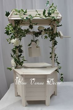 Wooden Wedding Wishing Well White Ivory Card Box Incl Lid As Pictures 4 5