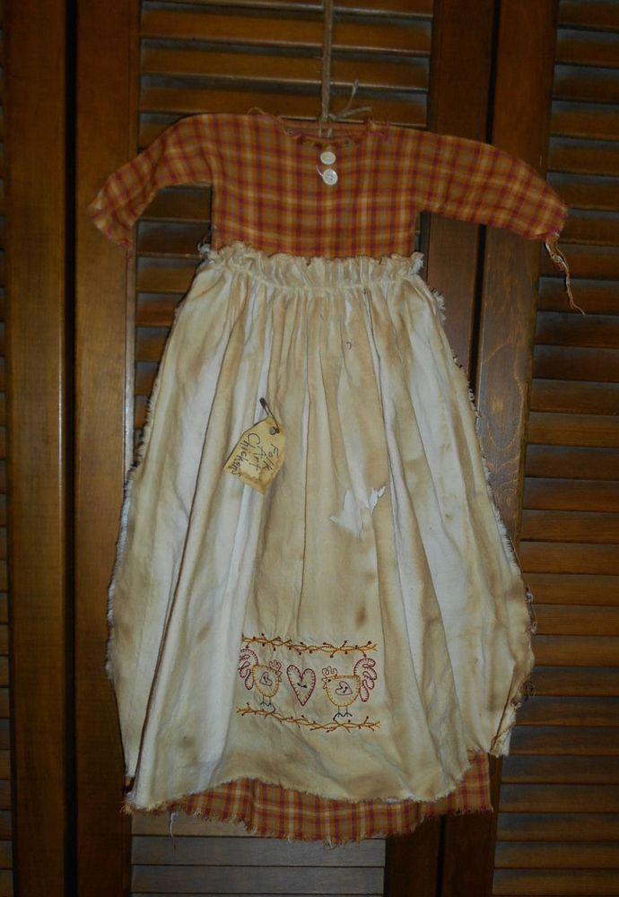 Primitive Wall Cupboard Decor Dress TAN CHECK W// APRON Folk Art Country Grungy