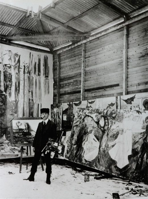 Edvard Munch in his studio.