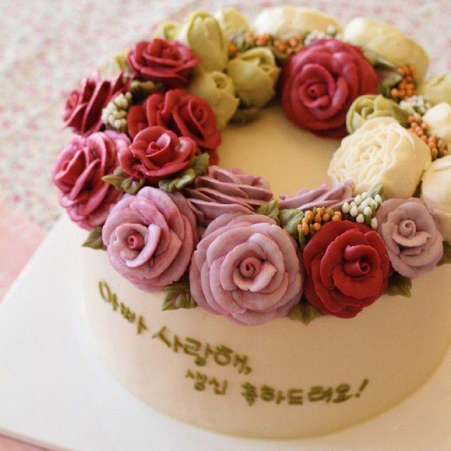 wreath cake #flowercake #mydearcake #플라워케이크 #마이디어 #마이디어케이크