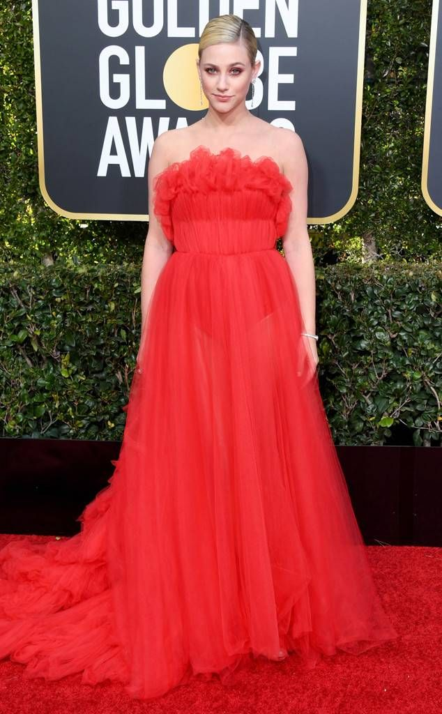 Lili Reinhart 2019 Golden Globes Golden Globe Awards Red Carpet Fashions Red Evening Dress Strapless Evening Dress Award Show Dresses