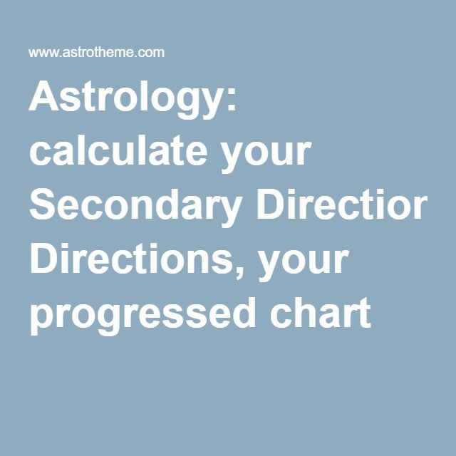 Astrology Calculate Your Secondary Directions Progressed Chart