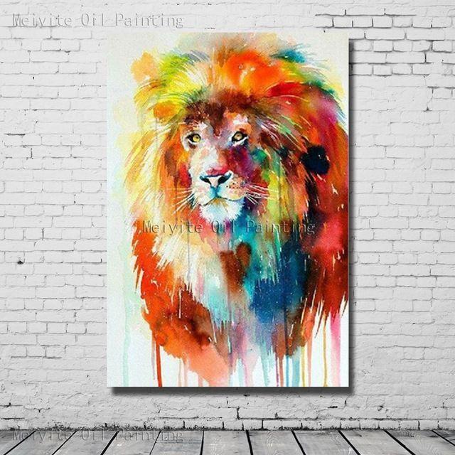 Lion Color Peint  La Main Peinture  LHuile Abstraite Wall Art
