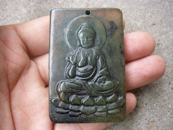Chinese Old Jade Lotus Guanyin Buddha Pendant by soyon on Etsy, $20.00