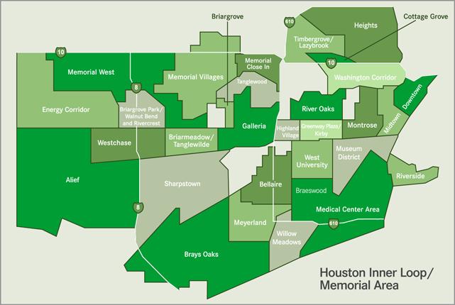 Hcc Alief Campus Map.Map Of Houston Inner Loop Memorial Area Maps Houston Texas