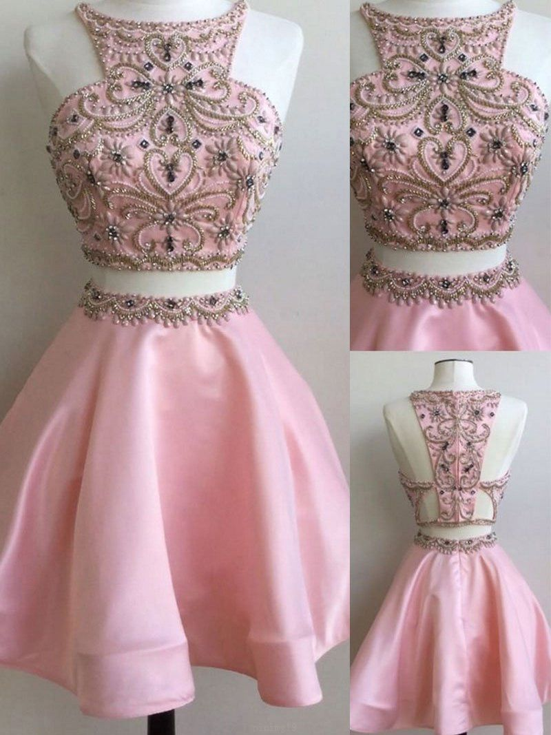 Hot Sale Rhinestone Pink Homecoming Prom Dresses Comely Two Piece ...