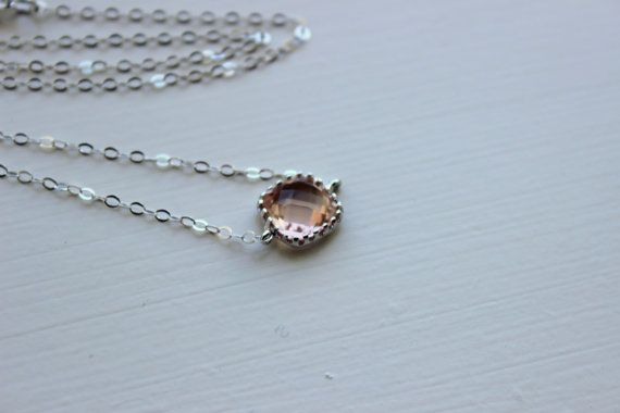 Dainty Blush Champagne Necklace Sterling Silver Chain - Charm Necklace Peach Pink Bridesmaid Necklace - Blush Wedding Jewelry Gift under 25